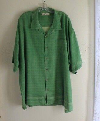 Tommy Bahama -Sz XXL 100% SILK TWILL Natural Rich FINE GREEN GRID SHIRT - Natural Twill Shirt