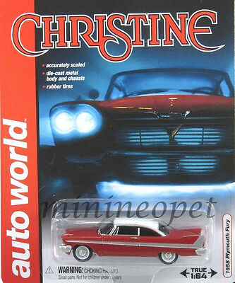 AUTOWORLD AWSS 6401 CHRISTINE 1958 58 PLYMOUTH FURY 1/64 DIECAST MODEL CAR RED