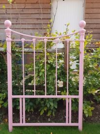 Pink metal bed head for Single bed from John Lewis Collection Only