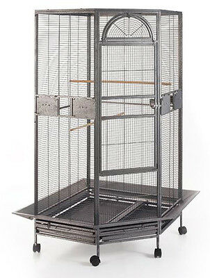 "NEW 30"" Corner Bird Cage Cockatiel Parakeet Budgies Parrot Metal Seed Skirts 148"