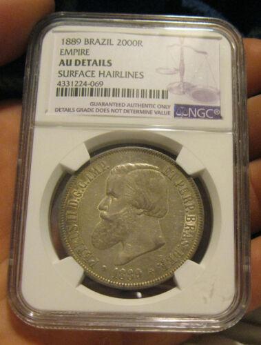 Brazil - 1889 Large Silver 2000 Reis (NGC AU Details)