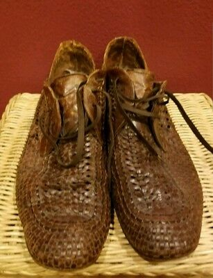 MENS Cole Haan  Basket Weave Leather / Fashion Designer Shoes size 9.5M 1970s