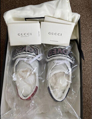 Authentic Genuine Gucci Ace Sneakers With Embelished Badge Embroidery RRP 715