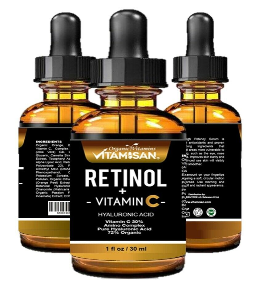 VITAMIN C SERUM 30% + E + RETINOL + HYALURONIC ACID  Organic