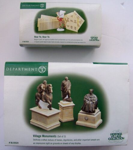 Lot of 2 Department 56 Heritage village pieces MONUMENTS & HEAR YE JESTER  NEW
