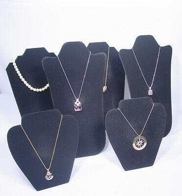 6pc Set Necklace Pendant Earring Black Velvet Jewelry Display Set Pj90b6