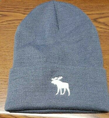 MEN'S ABERCROMBIE & FITCH GRAY BEANIE HAT W/MOOSE ~ ONE SIZE