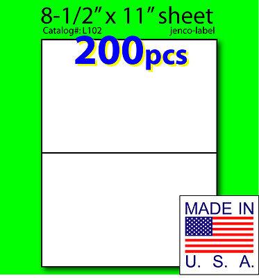 L102 200 Half Sheet Labels Laser Inkjet 8-12x5-12