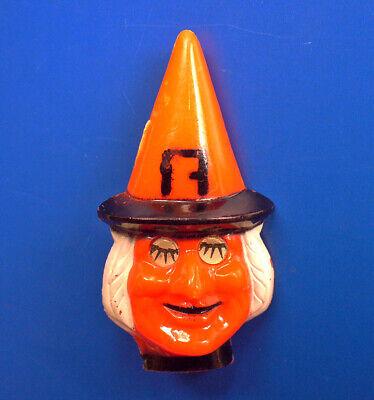 RARE PIN Halloween WITCH FLICKER EYE Vintage 50s Blinking WINKING Plastic Brooch