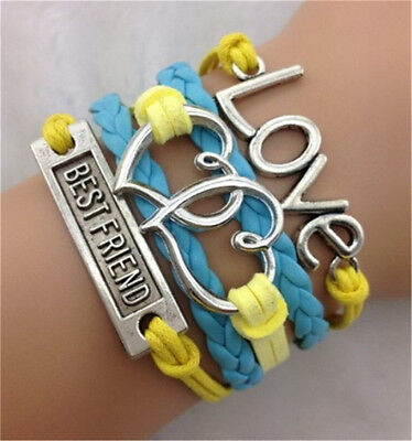 Infinity Best Friend Hearts Love Friendship Leather Charm Bracelet plated