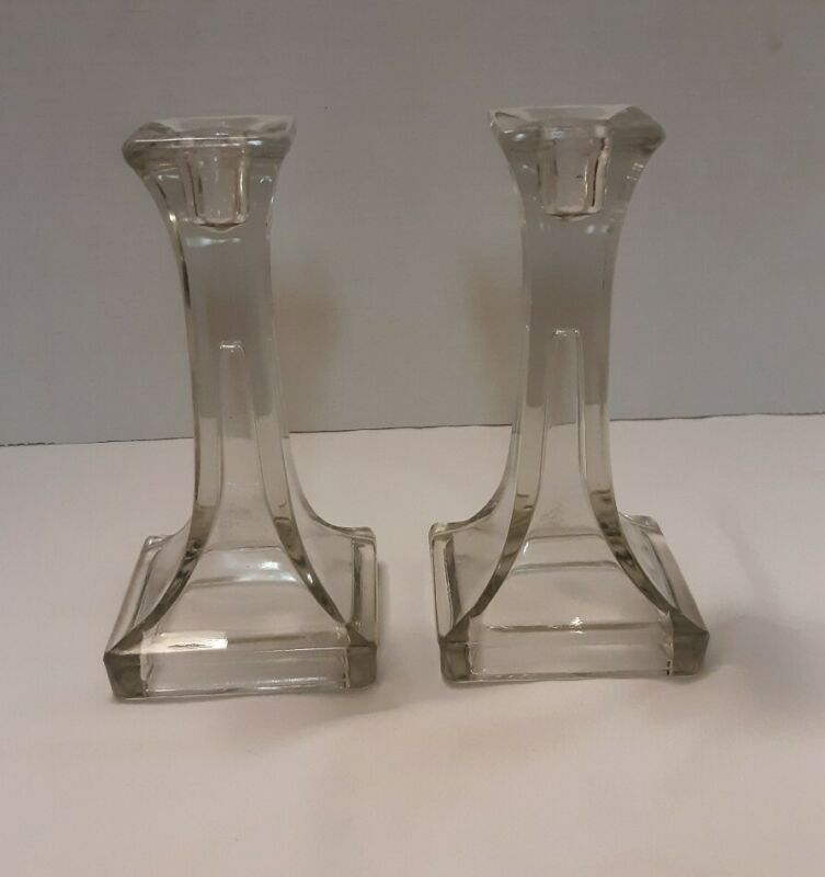 Vintage Pressed Glass Candle Holders Pair