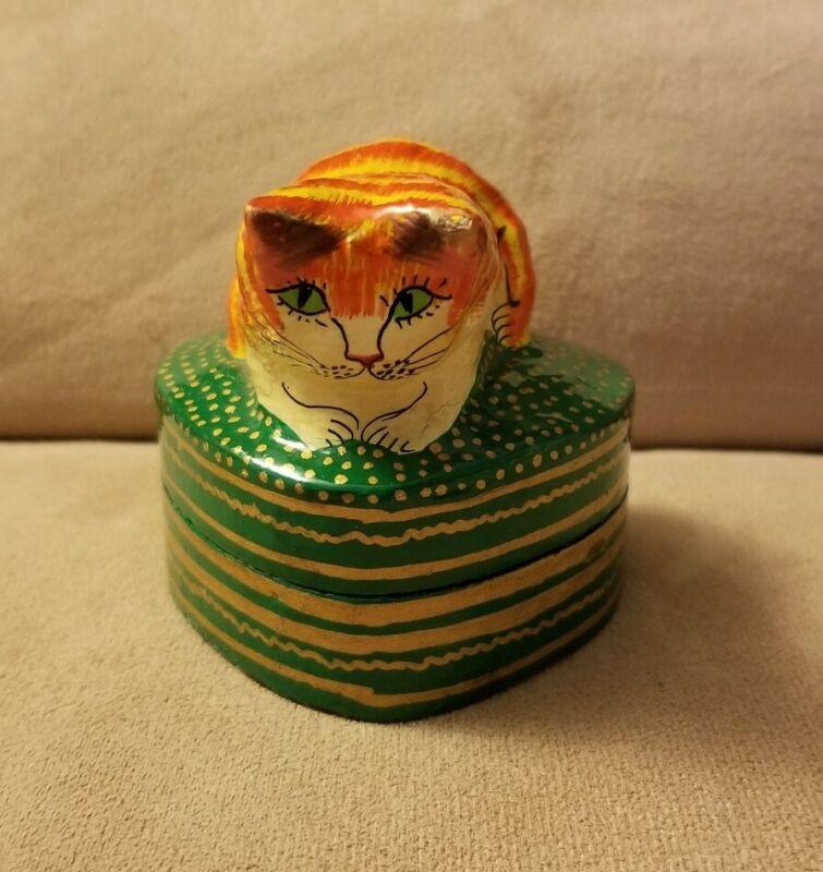 ETSY HANDMADE & HAND PAINTED HEART-SHAPED KITTEN KITTY CAT JEWELRY TRINKET BOX