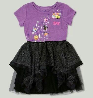 Girls Shopkins Halloween Dress Tutu Purple Black Girl XS 4/5 S 6/6X M 7/8 XL 14 - Black Tutu Halloween