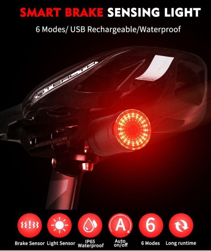 Smart Bicycle Taillight Brake Sense Light Auto Start&Stop LED Light safe warning