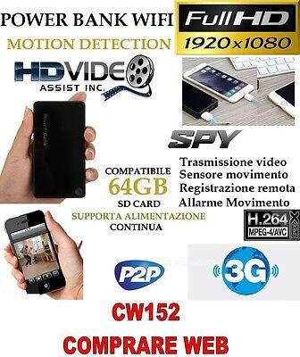 Cámara Espía Luz Wifi + SD32GB Micro Energía Bank Full HD Movimiento CW152 segunda mano  Embacar hacia Mexico