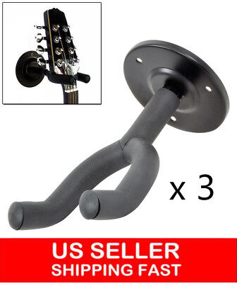 3pcs Hanger Mount Holder Hook Stand Bracket Rack f Acoustic Electric Bass Guitar