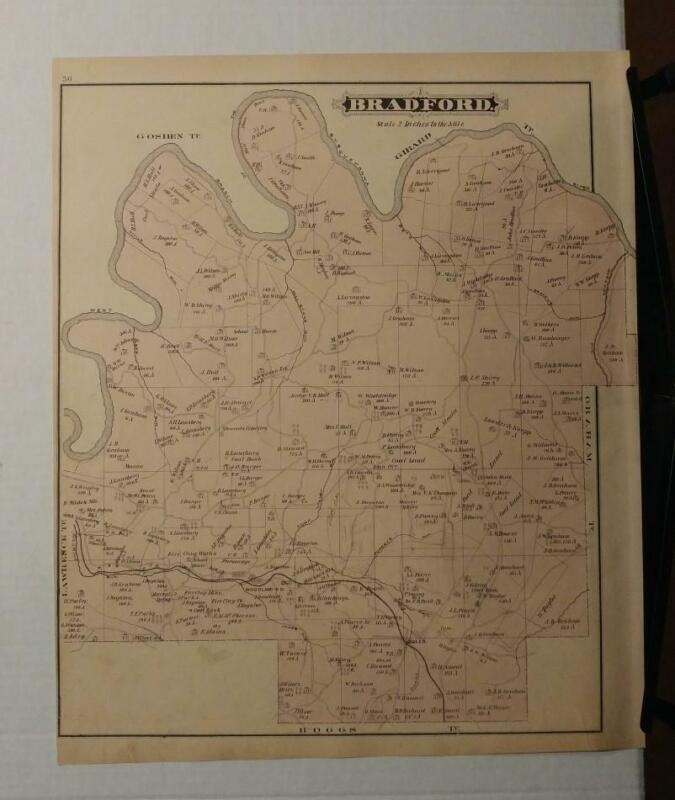 5024----1878 Bradford Township PA map with landowners - Clearfield County