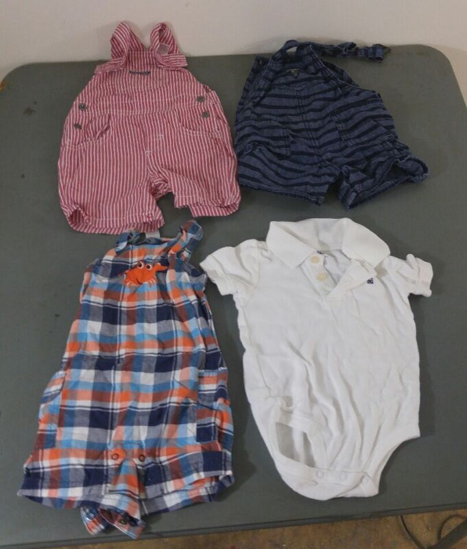 A15 Baby Boys Clothing Lot Of 4 Pieces Overalls  Carters Osh Kosh Calvin Klein