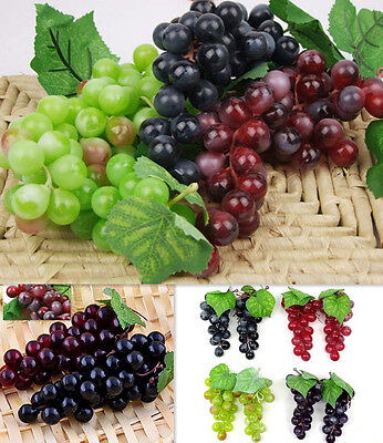 Bunch Lifelike Artificial Grapes 6S Plastic Fake CA Fruit Food Home Decoration