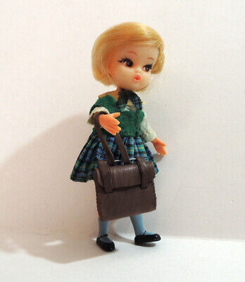 "Vintage Dolly Darling doll 1960s 4"" Hasbro Susie goes to school leather satchel"