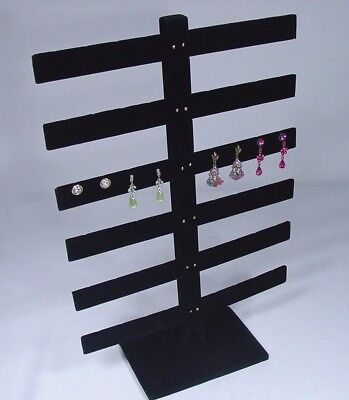 6 Tier 15h X 10w Black Velvet 24 Pairs Earring Jewelry Display Stand 252-6b