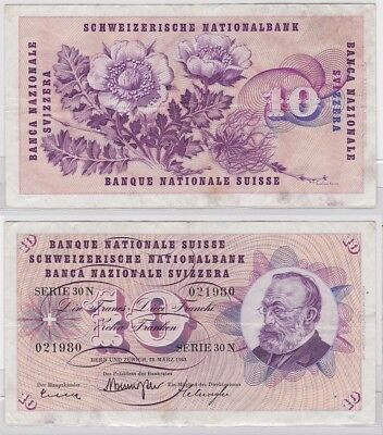 10 Franken Banknote Schweiz 28.03.1963 (121948)