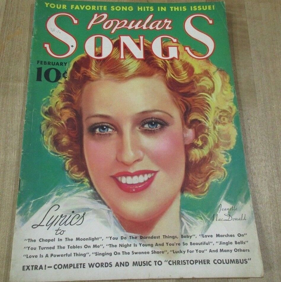 Popular Songs February 1937 Jeanette MacDonald Mae West Lucy Monroe Shirley Tem  - $7.99