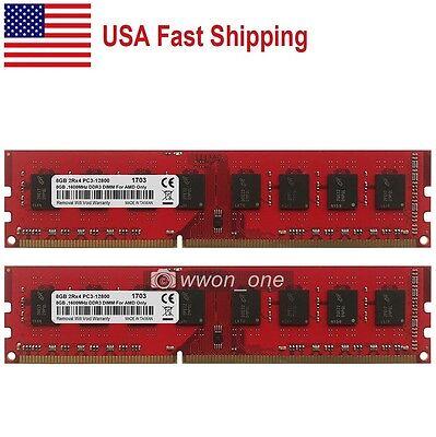 US 16GB KIT 2x8GB PC3-12800 DDR3 1600MHz DIMM Desktop Memory For AMD CPU Chipset