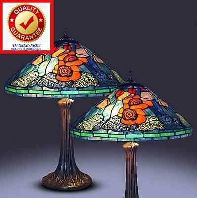 Tiffany Style Table Lamp Tulip Floral Pattern (set of 2) Vintage Poppy Design