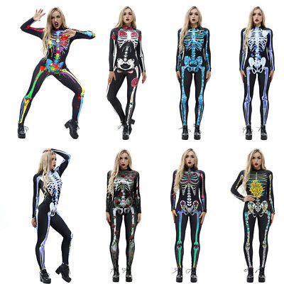3D Print Halloween Women Skeleton Bone Frame Jumpsuit Bodysuit Cosplay Costume (3d Printed Halloween Costume)
