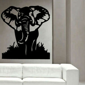 African elephant decal vinyl wall sticker animal birds living room d cor ebay - Elephant decor for living room ...