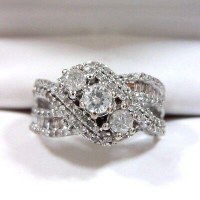Elegant 3 Stone Round Cut Diamond Cluster Ring in 10K White Gold – Size 5 ½