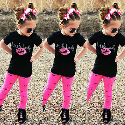 USA Toddler Kids Girls Short Sleeve Tops T-shirt +Long Pants Outfit Clothes 1-6Y