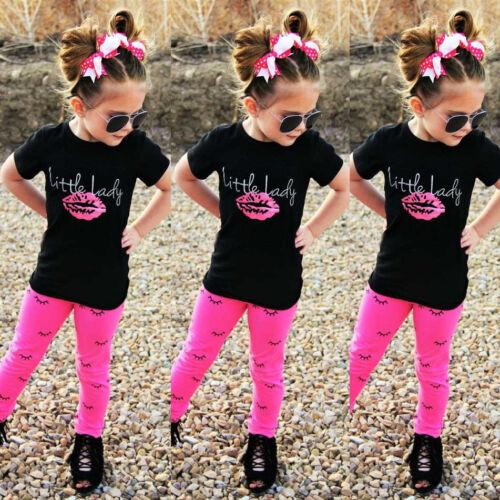 USA Toddler Kids Girls Short Sleeve Tops T-shirt +Long Pants