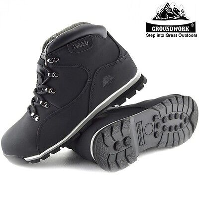MENS GROUNDWORK LIGHTWEIGHT STEEL TOE CAP SAFETY WORK BOOTS BLACK ...