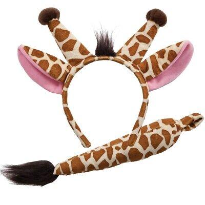 Tier Giraffe Modisches Kostüm-set Ohren auf Haarreif & Schwanz Satz Braun Wicked