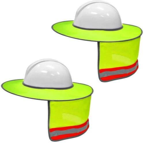 2 Pack Yellow Hard Hat Sun Shade Visor for full brim hard hat (neck shield)