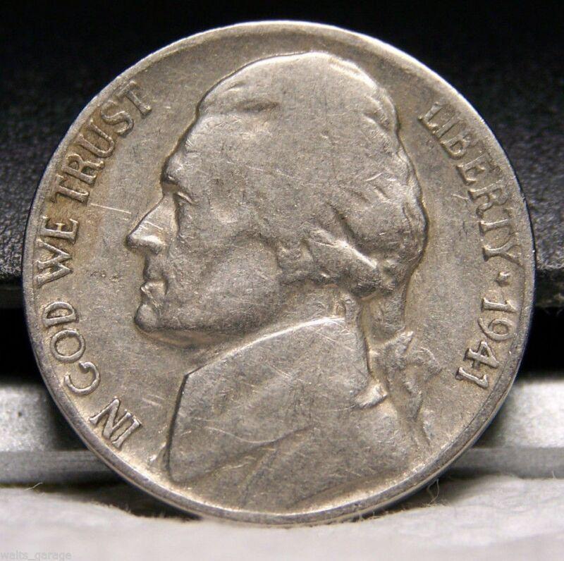 1941 S Jefferson Nickel, Nice, Circulated, Mintage of 43.4 Mil, Free Ship