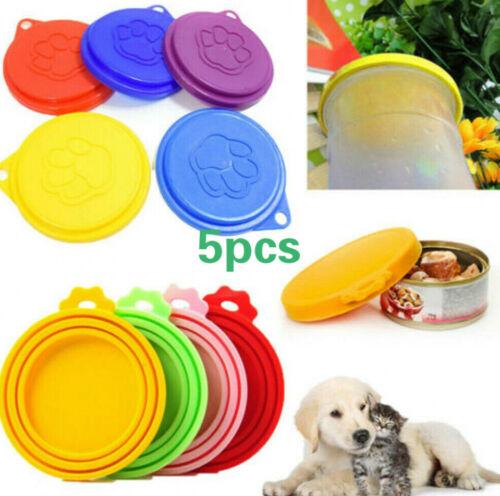5pcs Pet Food Can Cover Lid Dog Cat Pets Tin Plastic Reusable Cover Cap