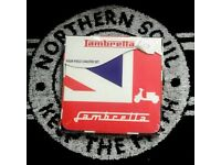 Brand new Lambretta coasters, in sets of 4, Mods Skinheads Vespa Lambretta Scooter Boys