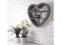 Heart Mirror Shelf (Grey)