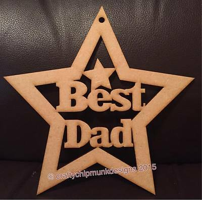 10 x Best Dad Star MDF wood laser cut plaque 180mmx 180mm for Fathers (Best Wood For Laser Cutting)