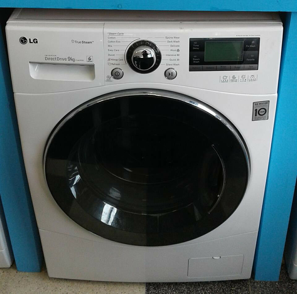 H013 white lg 9kg 1400spin washing machine comes with warranty can be delivered or collected