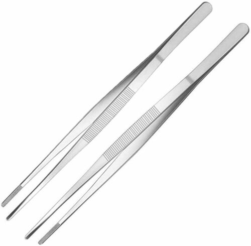 "2-PCs of Handy 12"" Extra-Long Tweezers Instruments Forceps"