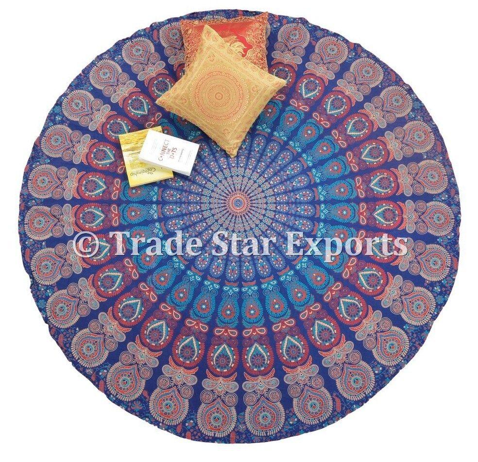"Indian Round Mandala Table Cloth 72"" Beach Blanket Ethnic Hi"