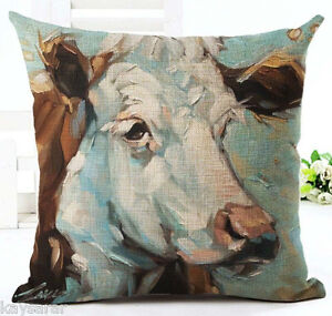 Oil Painted COW Cotton-Linen New CUSHION COVER, Natural Case, HEIFER, GB Sale