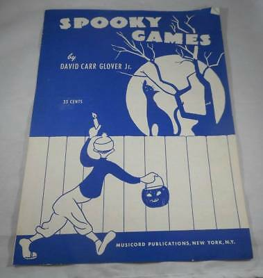 Vintage 1953 Spooky Games Halloween Sheet Music David Carr Glover Jr Piano Solo - Piano Sheet Music Halloween