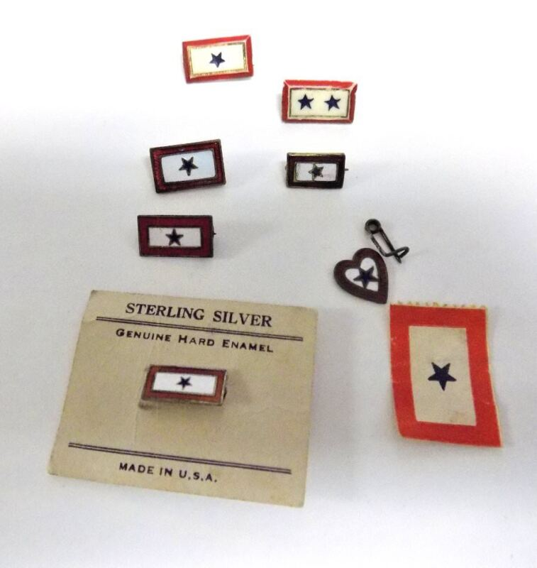 VINTAGE WWII SON IN SERVICE PINS/STAMP~8 PIECES~PLASTIC, STERLING, PAPER