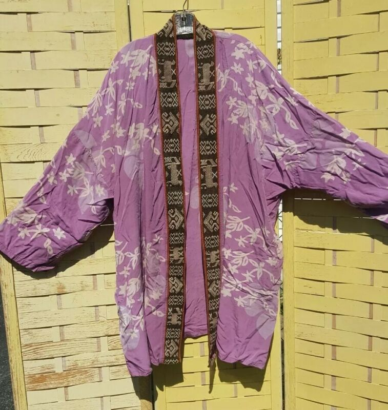 Purple Tribal Print Long light Jacket Open Cover Up Made in Indonesia One Size