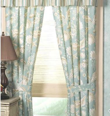 NATURAL SHELLS WINDOW CURTAIN : AQUA SHELL TROPICAL BEACH PANEL DRAPE ()